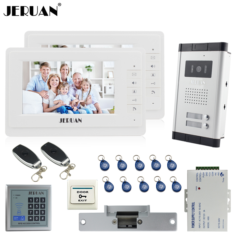 JERUAN 7 Video Door Phone Intercom System kit 2 Monitor 1 HD IR COMS Camera RFID Access Control 2 Remote Control For 2 House jeruan 7 color video door phone 700tvl coms camera access control system cathode lock free shipping