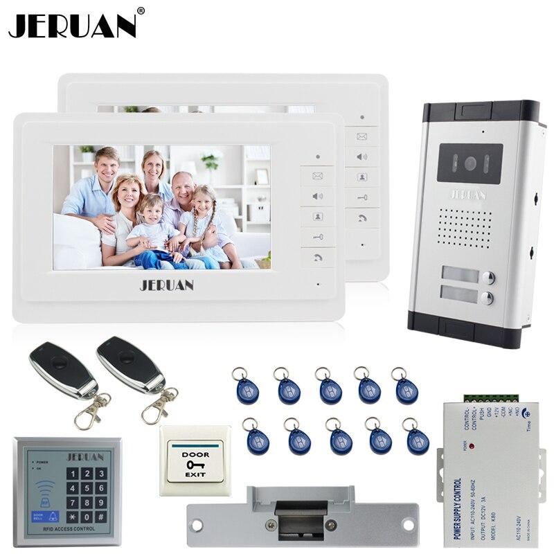 JERUAN 7 vidéo Porte Téléphone Système D'interphone kit 2 Moniteur 1 HD IR COMS Caméra RFID de Contrôle D'accès 2 Télécommande Pour 2 Maison