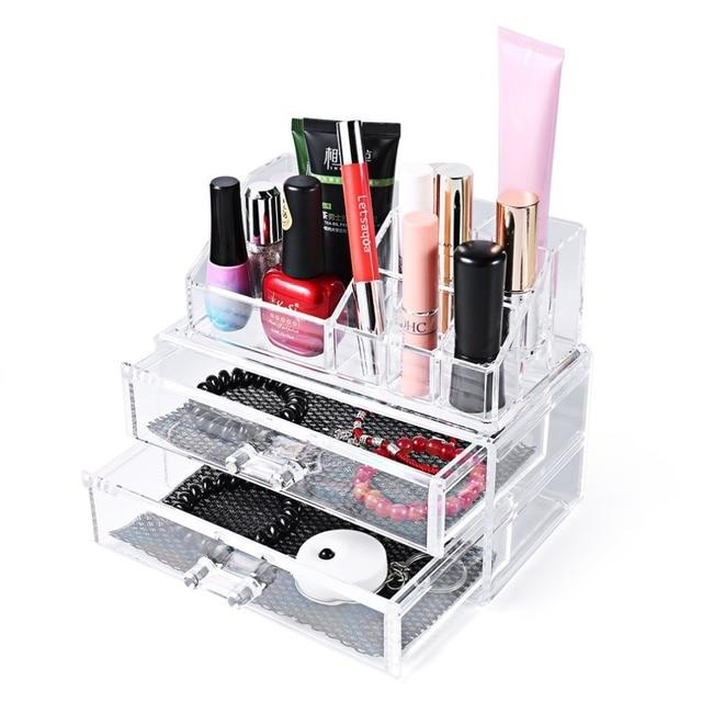 Large 3 layer Acrylic Makeup Organizer Storage Box Make Up Organizer Drawers Organizer Organiser Lipstick Case