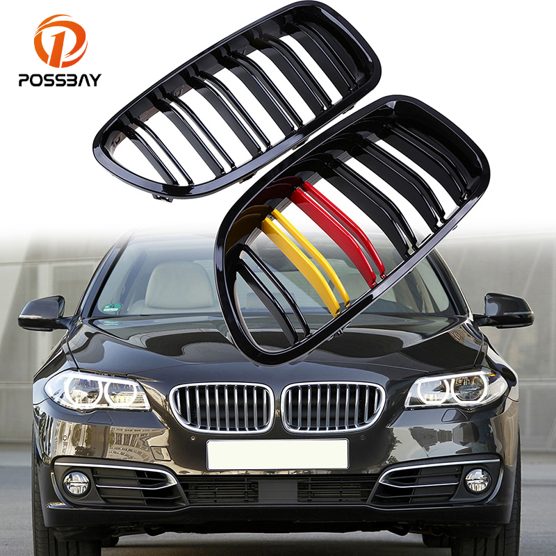 POSSBAY Front Painting Black Car Kidney Grille Grill For BMW 5-Series F10 Sedan 2010/2011/2012/2013/2014/2015/2016 German Style gloss black front dual line grille grill for bmw f20 f21 1 series 118i 2010 2011 2012 2013 2014