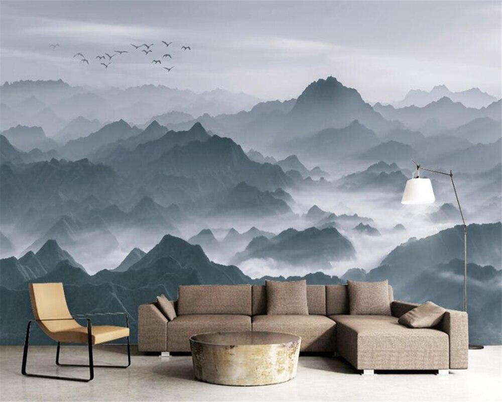 Beibehang Wallpaper Kustom Baru Tinta Cina Lukisan Landscape Suasana Megah Sofa TV Latar Belakang Dinding Mural