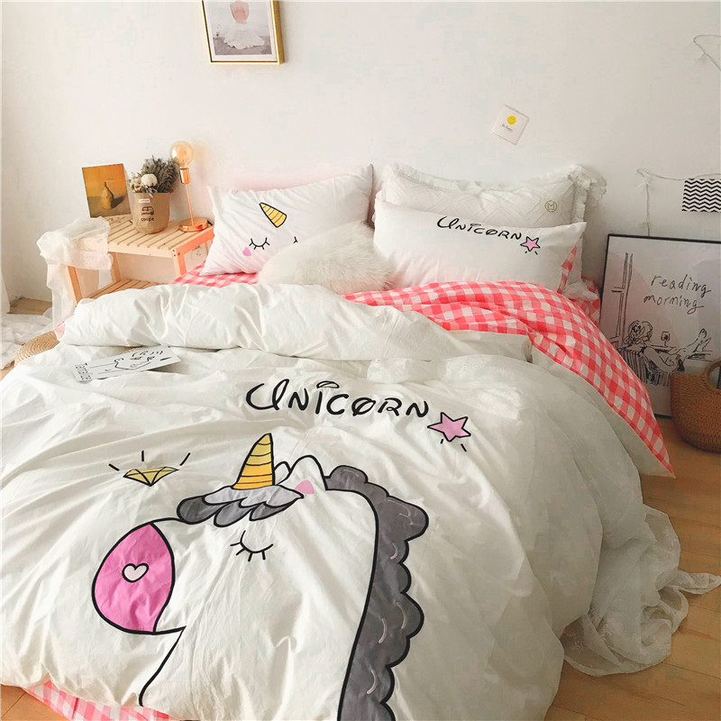 Pink White Yellow Green Lovely Cartoon Unicorn 100% Washed Cotton Bedding Duvet Cover Bed Sheet/Linen Pillowcases Gift For Child