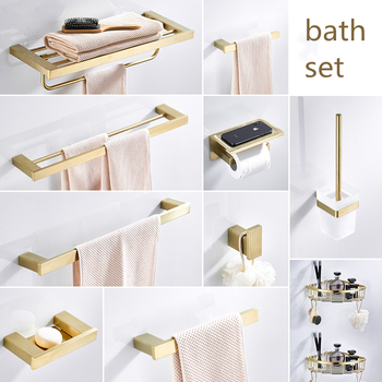 Bathroom Set Accessories Stainless Steel Brushed Gold Towel Rack with Hook Wall Toilet Brush Holder,toilet Roll Paper Holder 304 stainless steel towel rack square toilet paper holder roll holder bathroom accessories wholesale