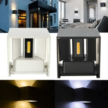 White/Black Color COB high quality super bright LED wall lamps outdoor 12W 110v,220v free shipping
