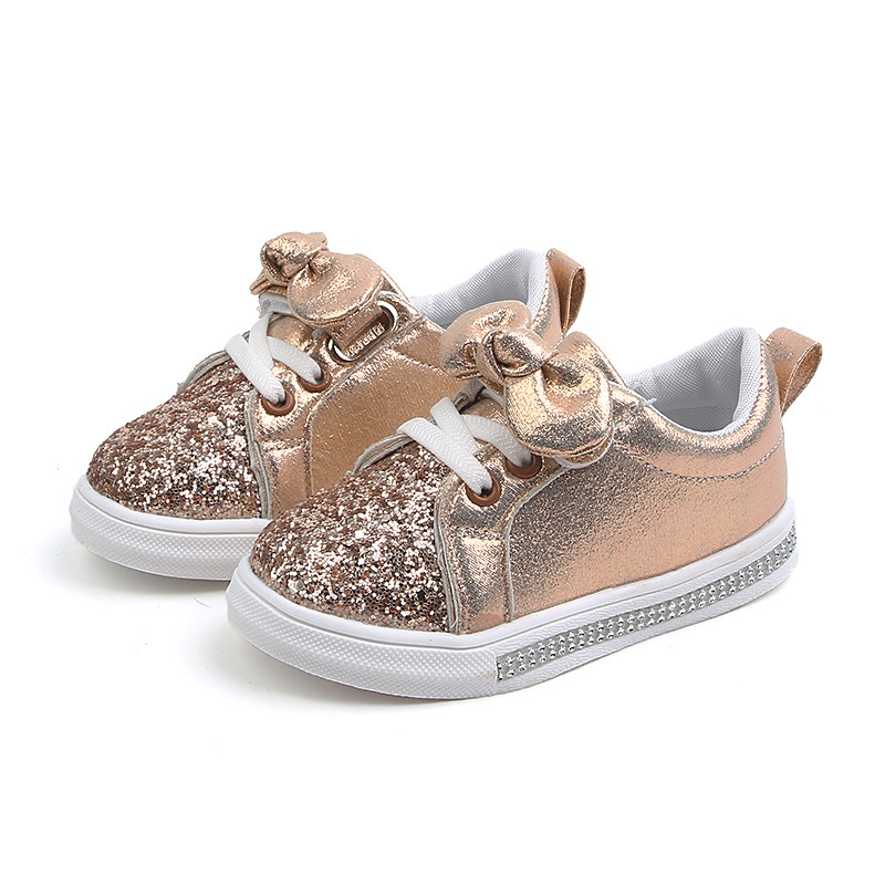 Baby Girls Shoes Toddler Shoes Children Baby Girls Boys Casual Shoes Sequins Bowknot Crystal Run Sport Sneakers Shoes For Girls