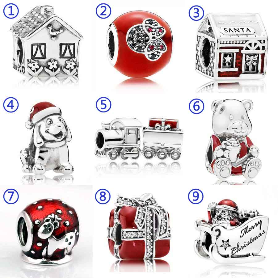Santa's Grotto Navidad cachorro tren de Navidad Oso de trineo Santa encanto Fit Pandora pulsera 925 pulsera de plata esterlina de la joyería del grano