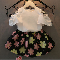 Brand Girls Clothing Set Summer Children Clothes White Short Sleeve Shirt Floral Skirt Shoulderless Chiffion Kids