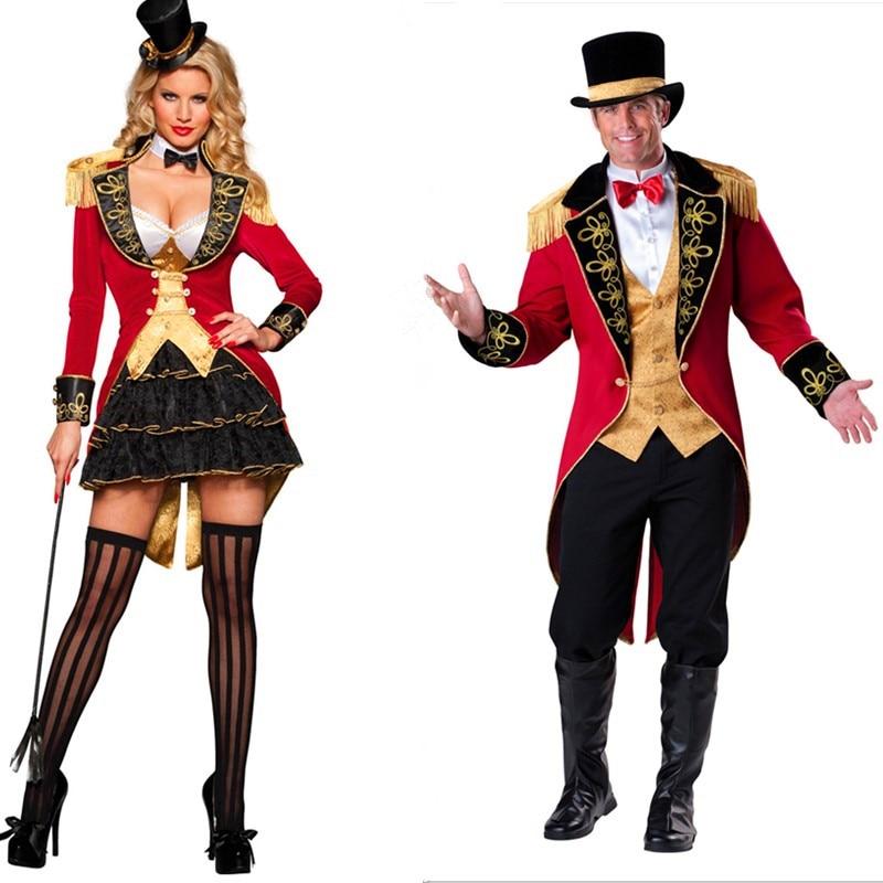 Halloween Adult Deluxe Ringmaster Couple Costume Circus Lion Tamer Glamorous Ringleader Fancy Dress