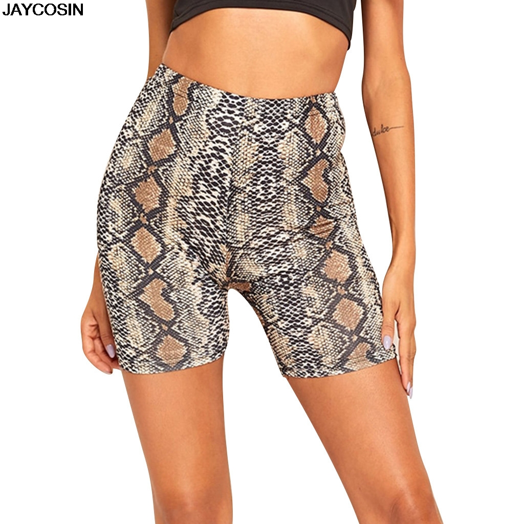 JAYCOSIN SHORTS summer Fashion Women Summer Snakeskin Print Sports Casual Cycling Short DIY Casual solid Hot SALE 9606(China)