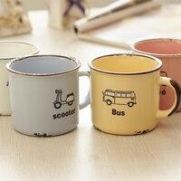 Imitation Enamel Ceramic Mug Cute Cartoon Nostalgic Creative Lover Ceramic Drinkware Coffee Mug Tea Mug