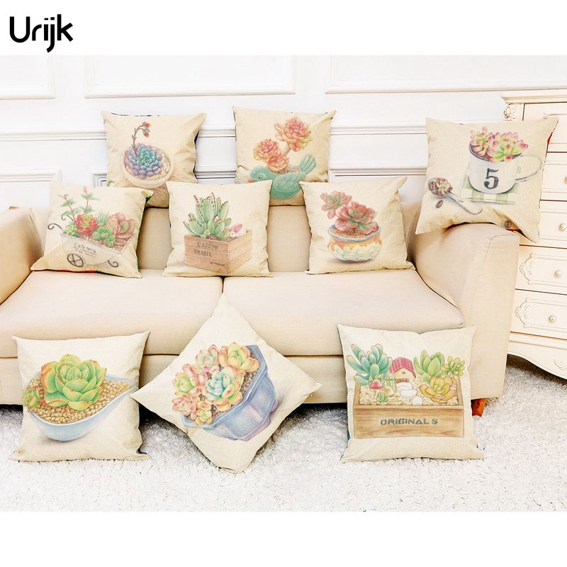Urijk 1PC Landscape Plant Children Waist Pillows Linen Pillow Cushion Cover Back Office Bedside Car Fabric Pillow Cover for Car