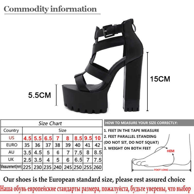 Gdgydh Gladyatör Sandalet Platformu Yüksek Topuklu Ayak Bileği Kayışı Kadın Bayanlar parti ayakkabıları Yaz Blok Topuk Deri PU Drop Shipping