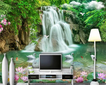 beibehang behang 3d wallpaper home interior landscape waterfall tv background decor papel de parede