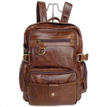 Nesitu Vintage High Quality Unisex Men Genuine Leather Backpack Female Travel Bags #M7042