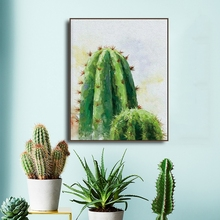 Watercolor Cactus Nordic Canvas Painting Calligraphy Prints Plant Leaf Art Posters Green Wall Pictures Living Room