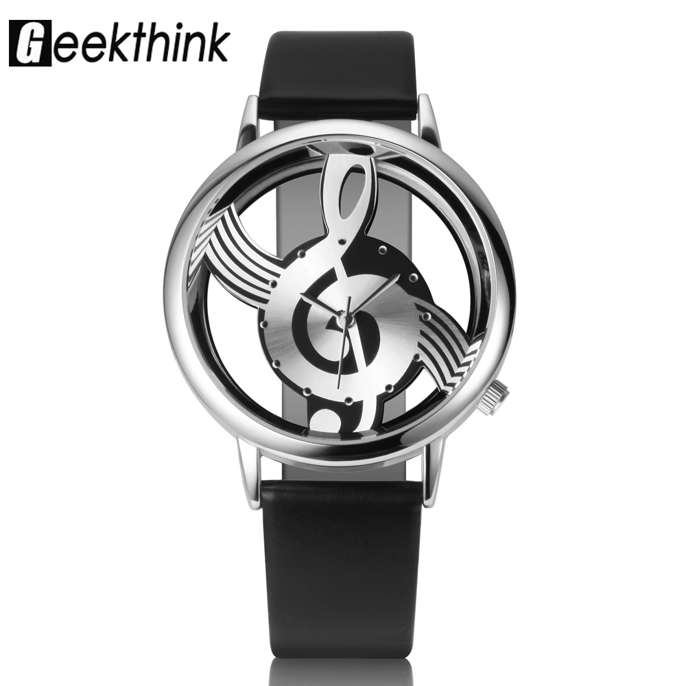 GEEKTHINK Unique Classic Women Quartz Watch Ladies Hollow Musical Note leather s