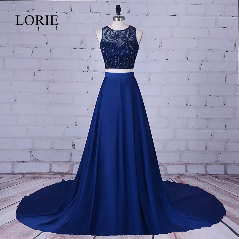 LORIE 2017   Prom     Dress   Two Piece Robe de soiree Navy Blue Long Evening   Dresses   Crystals Beaded Formal Graduation Party Gowns