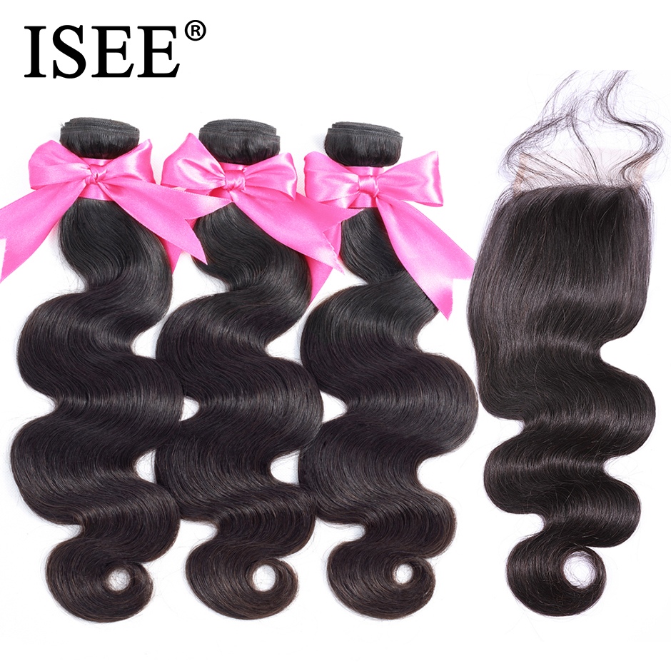 Malaysian Body Wave With Closure 100% Remy Human Hair Bundles With Closure 4*4 Swiss Lace ISEE HAIR 3 Bundles Hair With Closure
