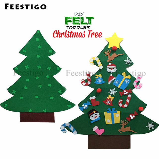 1 Set Kids Diy Felt Christmas Tree With Ornaments Children Christmas