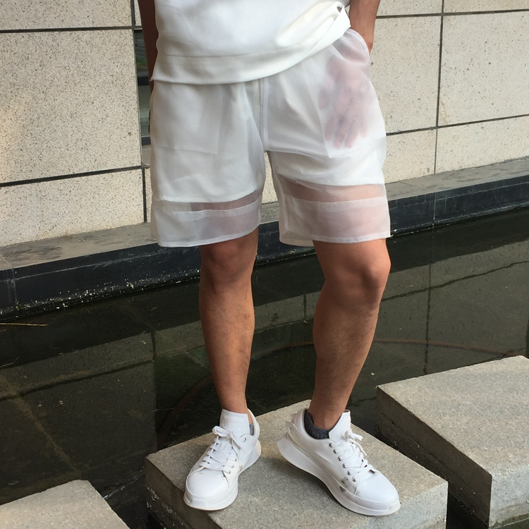 Clear Transparent Organza Light Weight Trousers Man Sexy Costumes Black White Hip Hop Heap Loosen  See Through Shorts