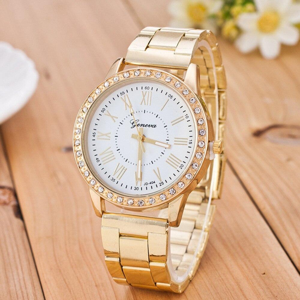 2018 Luxury Women Watches geneva Crystal Stainless Steel Quartz Analog Wrist Watch Fashion Watch Ladies Women Watches Golden wavy style fashion stainless steel quartz analog bracelet wrist watch for women golden 1 x 377