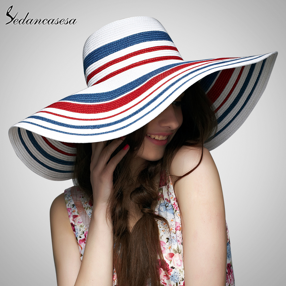 Sedancasesa Hot Style Summer Large Brim Straw Hat For Women Girls Adult Fashion Sun Hat UV Protect Big Summer Beach Hat Folding