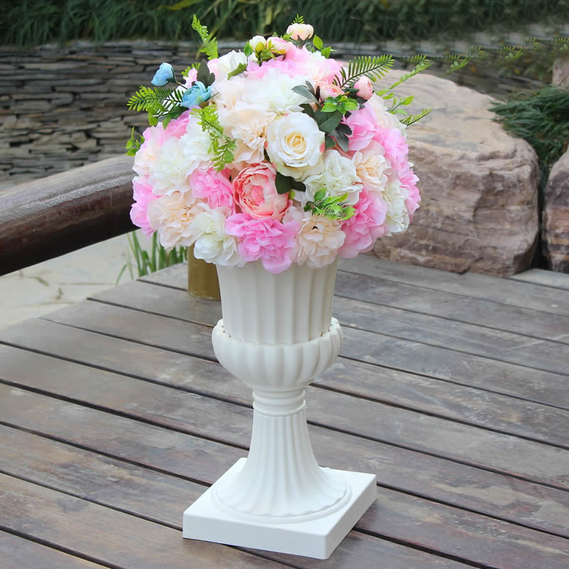 Customized New Green Plant Artificial Flower Ball DIY Wedding Road Lead Flower Roman Column Flower with Flower Pot Stage Layout in Party DIY Decorations from Home Garden