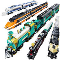 Kazi Battery Powered Maersk Train Container Train Diesel-electric Freight Building Blocks Bricks Educational Toys for Children
