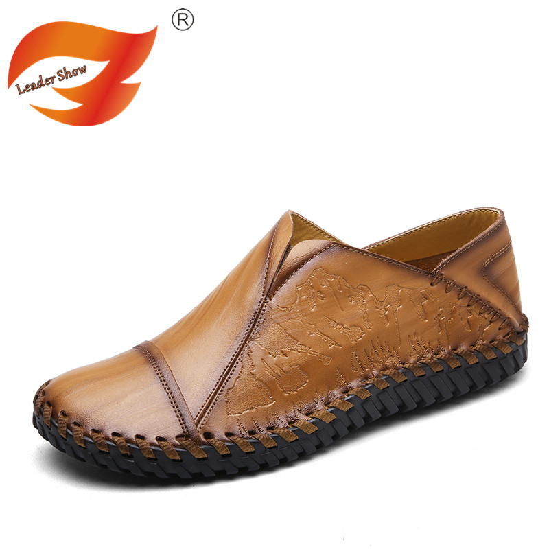 Leader Show Men Autumn Genuine Leather Shoes Casual Driving Shoes Male Soft Flat Shoes Handmade Loafers Comfortable Shoes men s genuine leather casual shoes handmade loafers for male men waterproof flat driving shoes flats