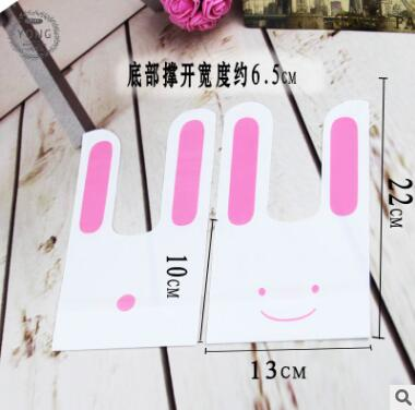 50Pcs Cute Rabbit Ear Cookie Bags Self-adhesive Plastic Bag For Biscuit Snacks Baking Package Food Bags Event Party Supplies Dec