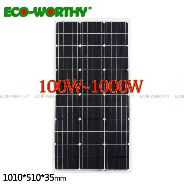 USA Stock 100W/200W/300W/400W/600W/1000W Monocrystalline Solar Panel for 12V Battery Home solar system solar cell