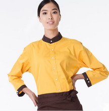 yellow work wear uniform work uniform shirts long sleeve restaurant uniform shirt uniform hotel clothing for waitress