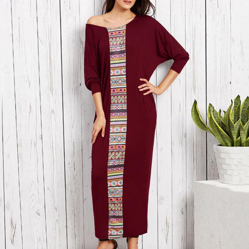 KANCOOLD dress fashion Women Batwing Long Sleeve Crew Neck Maxi Long Dress Plus Size Muslim Casual dress women 2018jul19