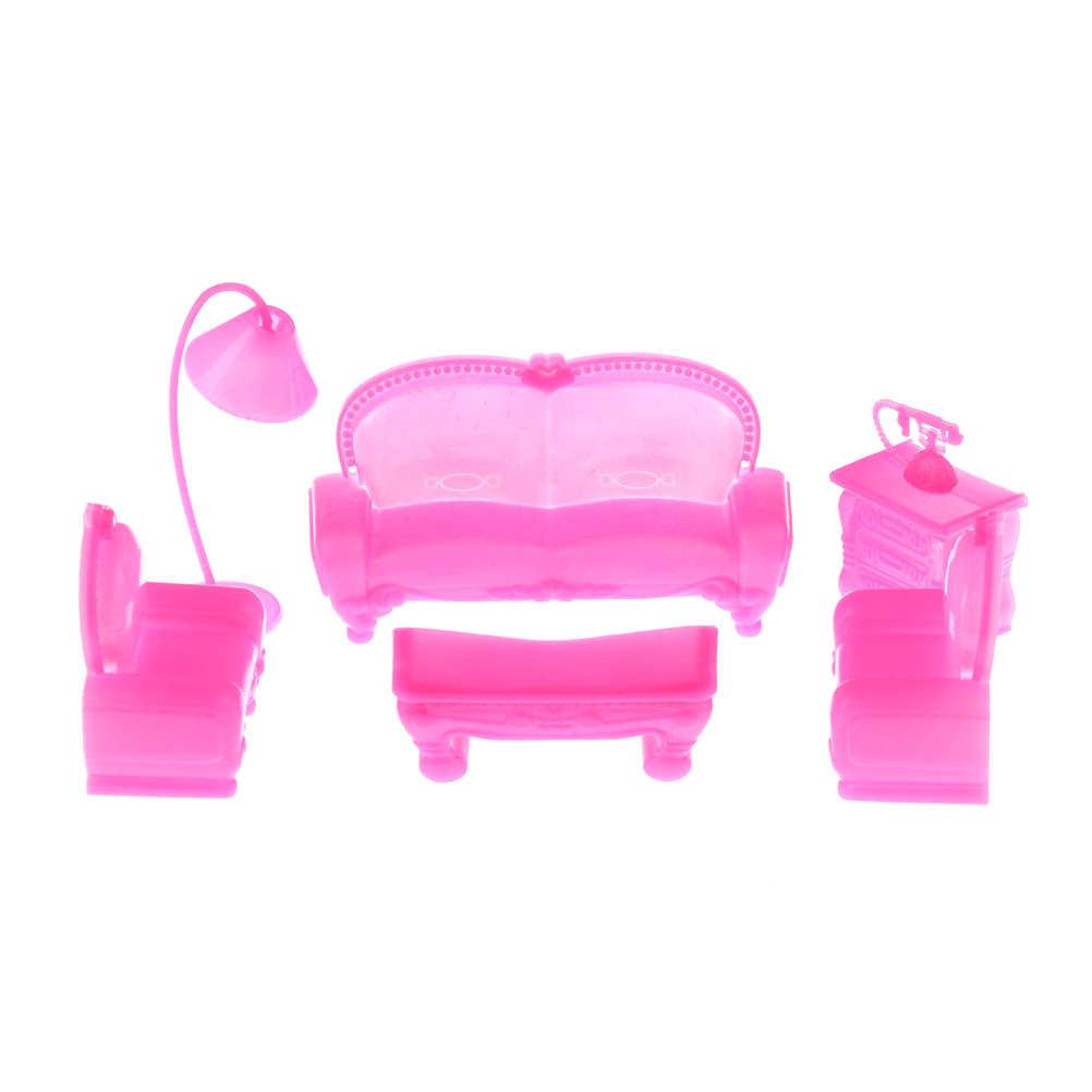 1 Set Miniatur Furniture Kain Model Sofa dan Kursi Set Mini Rumah Boneka Miniatur Perabot Ruang Keluarga dengan TV dan Bantal