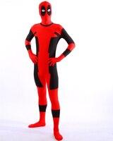 1 unids moda de HALLOWEEN Cosplay marvel rojo spandex Deadpool Traje adulto para el partido muestra de cuerpo completo