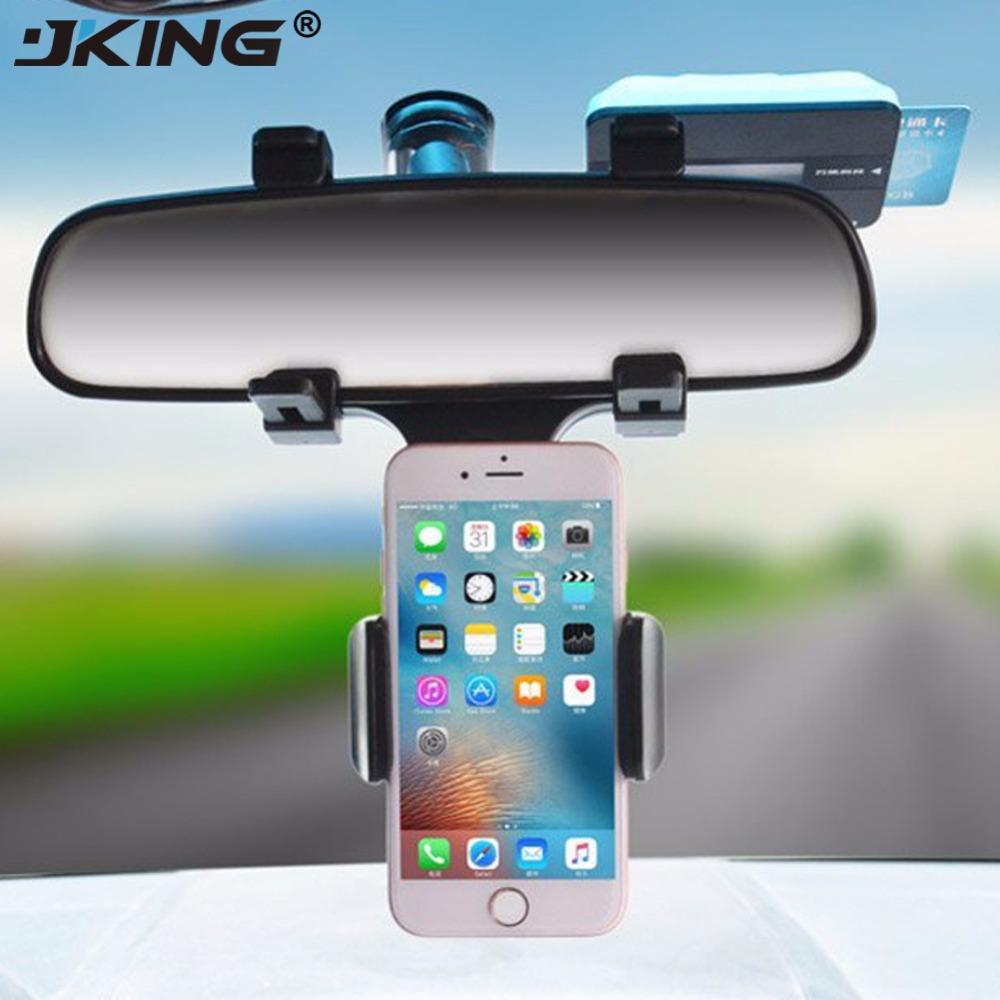 JKING Universal Car Phone Holder Mount Bracket Stand 360 Degree Rotation Rearview Mirror For Smart Mobile Cellphone Safe
