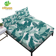 Tropical Green Plant Leaves Print Sheets Set Twin Full King Queen Fitted Sheet Bed Linens Pillowcase 4Pcs Bedding Set D30 allover sanding plant print sheet set
