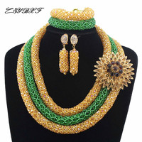 2019 New Bridal Jewelry Sets Green Nigerian Wedding African Beads Jewelry Set Crystal Women New Necklace Set Free ShippingHD7580