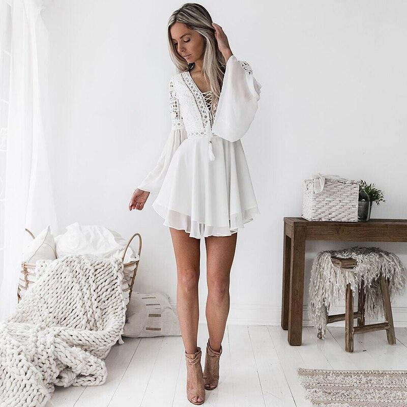 Hollow Out White Dress Sexy Women Mini Chiffon Dress 20