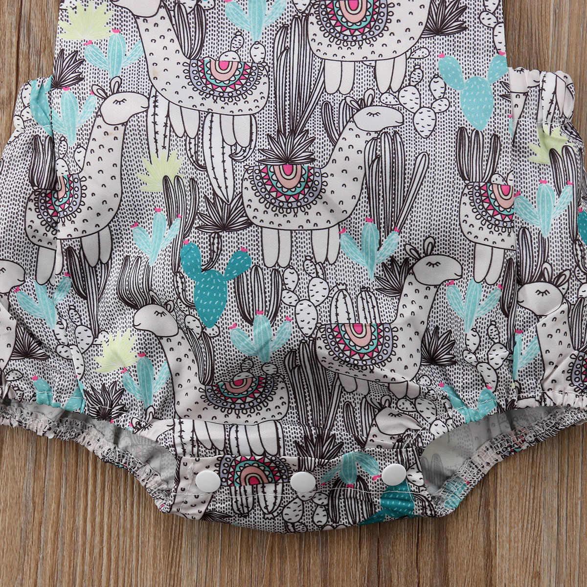 Одежда для новорожденных мальчиков от 0 до 24 месяцев, Летний милый комбинезон без рукавов с пуговицами и рисунком кактуса, комбинезон с принтом