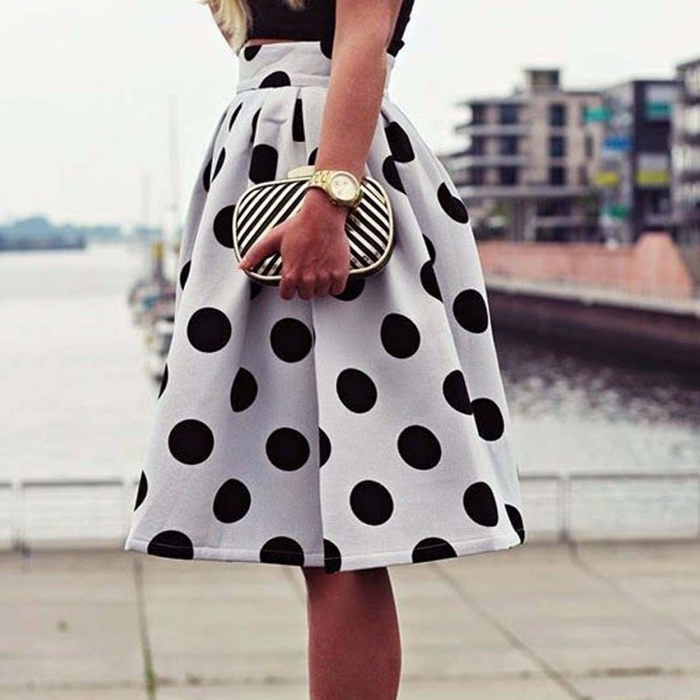 SAGACE Women Skirt Fashion lady Casual sexy big size Skirt Bodycon Polka Dot Umbrella Skirt Retro Puff girls Skirts gothic 409