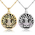 Round Pendant Necklace Leopard Head Pattern Fashion Women Jewelry  Goldr and White Gold Plated CN41 CN42