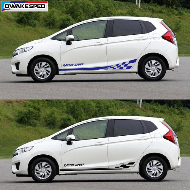 Car Styling Door Side Skirt Vinyl Decals For Honda Fit Jazz Rs 2017 2018 Racing Sport Stripes Auto Body Protection Stickers