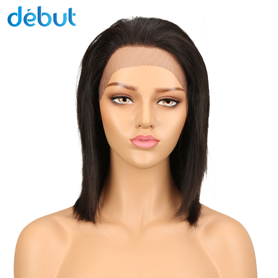 Debut Remy Brazilian Lace Front Human Hair Wigs 14 Inch Silky Straight Human Hair Wigs 5 Inch Nape Of Neck Natural Lace Front