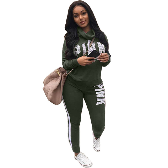 Women Tracksuit 2 Pieces Pink Letter Print Top and Skinny Long Pants Plus  Size Sweatsuits 2018 Casual Sportswear Outfit e2fe0bbb8f21