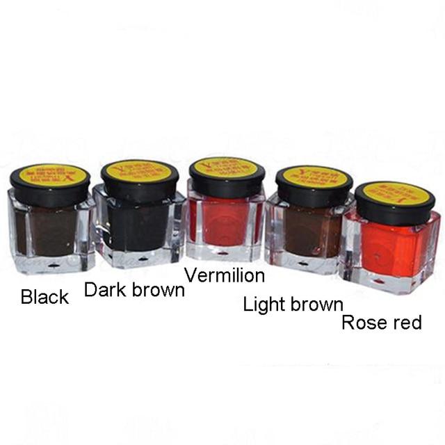5 Color/set Permanent Makeup Micro Pigment Cosmetic Encre Tatouage Black Tattoo Ink Permanent Eyebrow Eyeliner Lip Tattoo Cheap