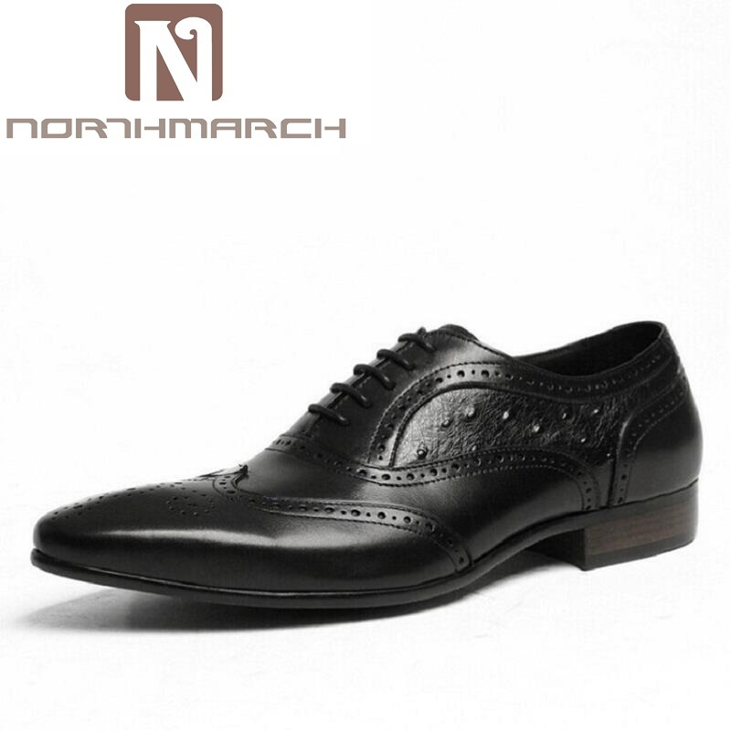 NORTHMARCH Brand Black/Brown Men Dress Shoes High Quality Fashion Handmade Leather Oxford Shoes For Men chaussures hommesNORTHMARCH Brand Black/Brown Men Dress Shoes High Quality Fashion Handmade Leather Oxford Shoes For Men chaussures hommes