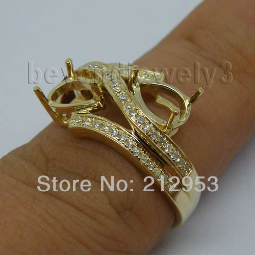 Vintage Pear 5x7mm Solid 14kt Yellow Gold Semi mount Ring Diamond Fine Jewelry WU021