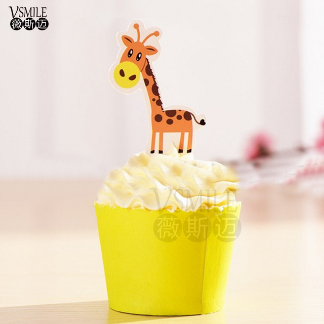 50pcs Cute Yellow spotted giraffe Panda paper Cupcake topper Mary ...