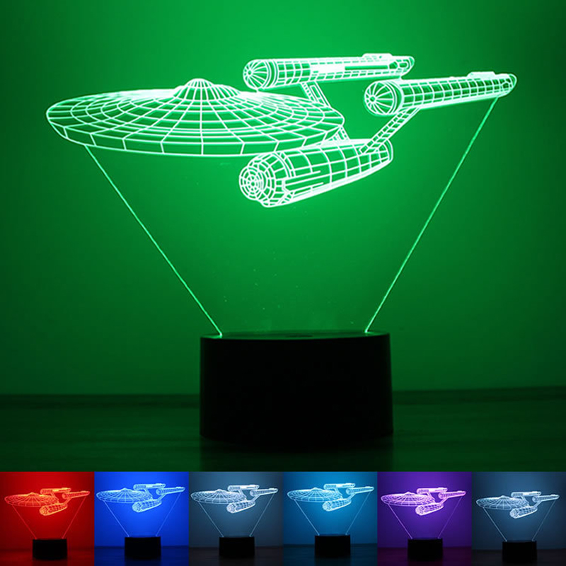 Star Trek Spaceship 3D Lamp LED 7 Color touch switch changing Light Base Cool Night Light Table Lamp Children Surprise Gift